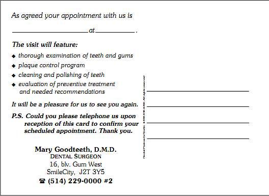 dental postcards templates