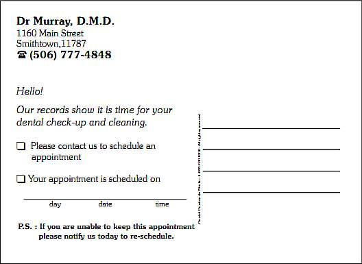 dental postcard customization options